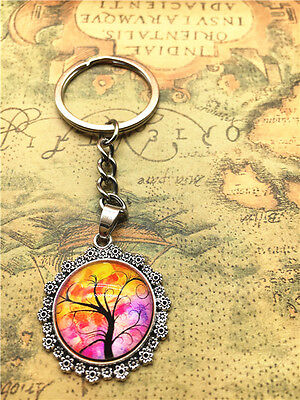 Hot Tibetan silver tree of life Cabochon Glass Pendant Metal Key Ring New40