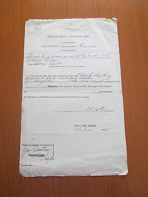 1832 Navy Pay Office Treasurers Certificate Dead Claim Document