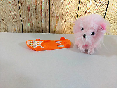 Zhu Zhu Puppies Pet PUPPY STAR Dog Long Hair With Skateboard TESTED Ships FREE