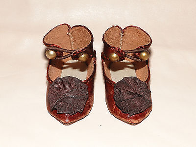 """Leather tan shoes French Jumeau style for antique doll 2"""" 1/8"""