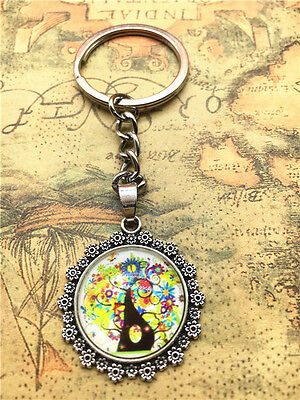Hot Tibetan silver tree of life Cabochon Glass Pendant Metal Key Ring New46