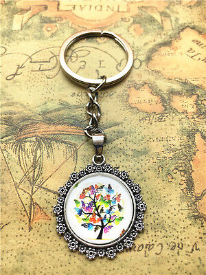 Hot Tibetan silver tree of life Cabochon Glass Pendant Metal Key Ring New49