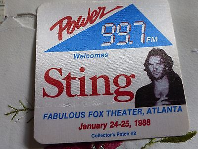 Sting - Power 99.7 FM Welcomes Sting Fox Theater Atlanta 1988 Collectors Patch