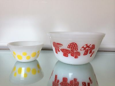 "HTF Rare Federal Glass Red Mushroom Bowl 8"" And Yellow Polka 5"""