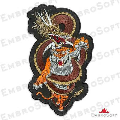 Tiger and Dragon Large Patch IRON&SEW ON 8.7 x 14.9 and 7 x 12 inches