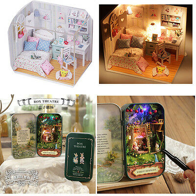 2PCS DIY CuteRoom Forest Rhapsody Hoomeda Dollhouse Miniature With LED Cover