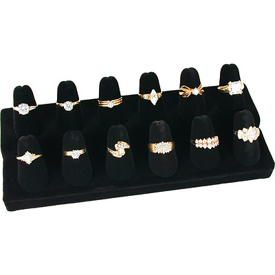 12 Finger Black Velvet Ring Showcase Counter Top Display Jewelry Holder