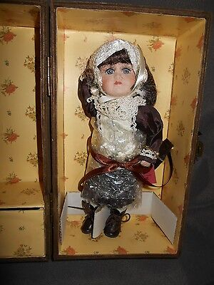 Vintage Trudy Traveler Doll, Porcelain with Clothing and Trunk