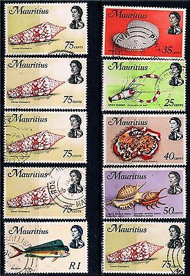Ile MAURICE - LOT BON TIMBRES MAURICIENS coquillages crustacés poissons