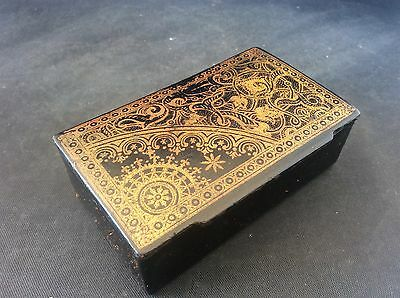 Antique c19th Chinese Papier Mache Snuff Box Gilt Gilded Decoration stamped 3