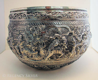 Large Antique 1913 Burmese Burma Repousse Silver White Metal Dish RICE BOWL