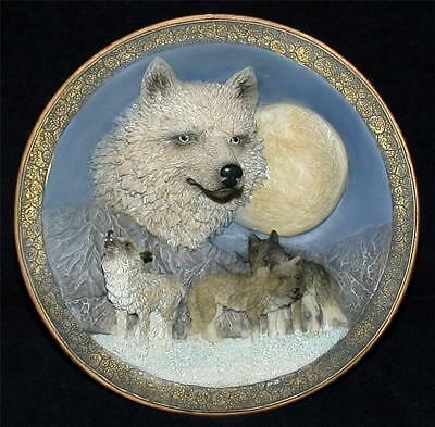 """Suanti Galleries 3-D Wolf Plate Hand Crafted Polyresin Table Or Wall Decor 8"""""""