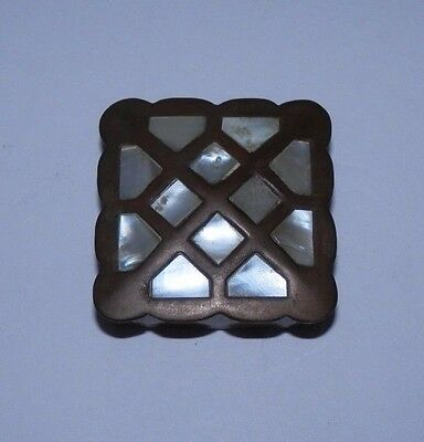 Vintage Mother of Pearl Inlaid Brass Pill Snuff Trinket Box Unique Top Antique