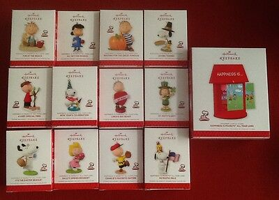 """Hallmark ~ Complete Set of """"Happiness is Peanuts"""" ~ 12 Monthly Ornaments & Stand"""