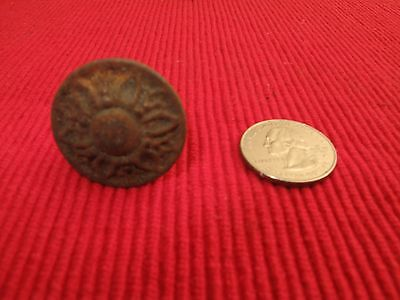 """Antique Ornate Victorian Cast Iron Floral Drawer Pull Knob 1 1/8"""" D"""