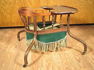 Victorian Infant Or Baby Walker With Tray Spindles Skirt Fringe 18081