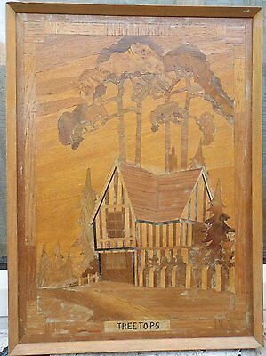 """Vintage Wooden Marquetry Inlaid Picture 11.5"""" x 15.5"""""""