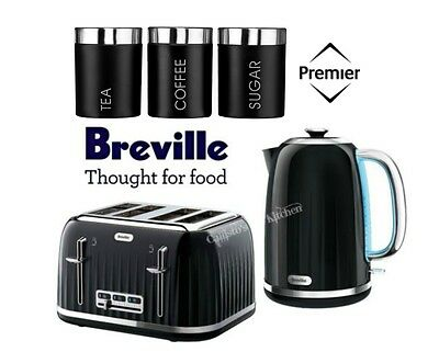 Breville Impressions Kettle and Toaster Set With Black 3 Piece Canister Set New
