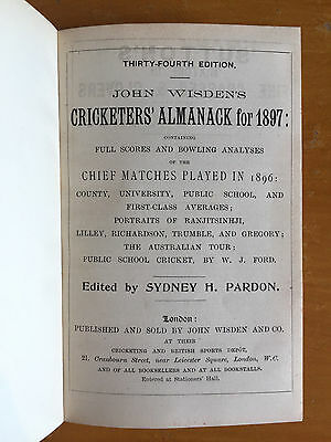 1897 Wisden Cricketers Almanack 34th Edition Bound hardback leather covers