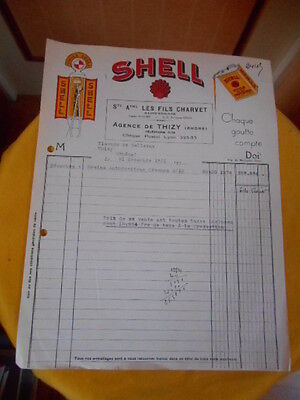 ancienne facture : Shell - Agence de Thizy - Charvet fils - 1951