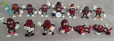 California Raisins - Lot of 13 - From the 1980's - Surfer, Drummer, Females