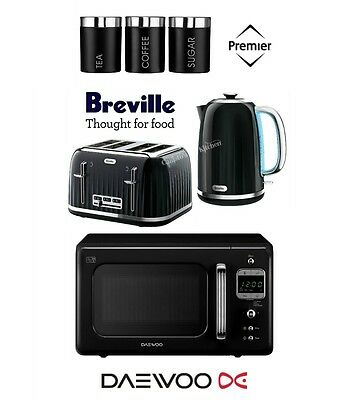 Breville Impressions Black Kettle and Toaster Set & Daewoo Microwave & Canisters
