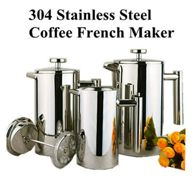 304 Stainless Steel Coffee Maker  French Press Coffee Cup Tea Maker Double Wall