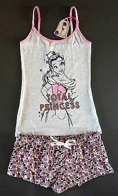 DiSNEY PRiNCESS BELLE DAMEN PYJAMA S-XL SHORTY SCHLAFANZUG TOP + SHORTS PRiMARK
