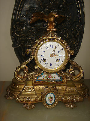 Antique French Bronze Sevres Signed Palais Clock