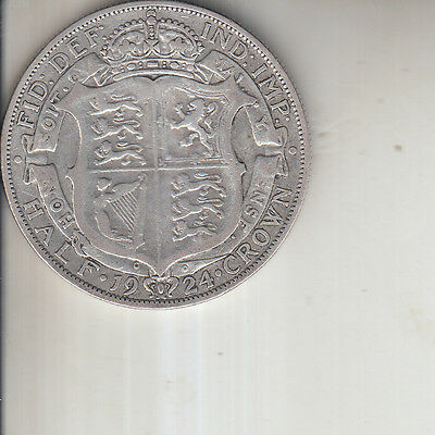 1924 Half crown Coin George V silver Britiish Coin