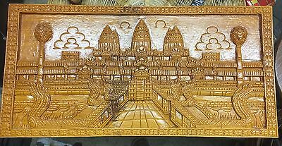 Vintage Hand Carved Wood Wall Plaque Art. Palace Scene Oriental. 12 X 24 Hvy