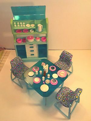 Vintage Barbie Dream House Furniture Dining Set with Hutch 1977/1978