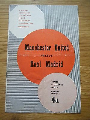 1959 / 1960 MANCHESTER UNITED v REAL MADRID FOOTBALL PROGRAMME
