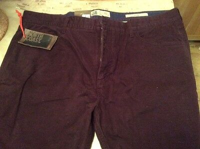M and S North Coast slim Fit Claret coloured jeans size 42W 29L BNWT