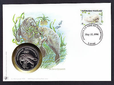 World Wide Fund West African Manatee cover & coin medal Numisbrief WWF 1996 Togo