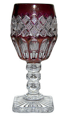 Westmoreland Waterford Line (#1932) / Wexford  Ruby Stained Cordial Goblet