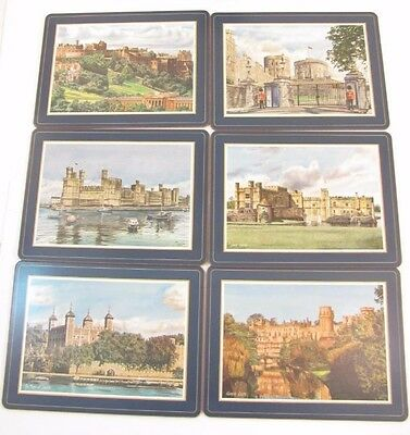 6 Vintage Pimpernel Place mats Table Mats British Castles 9 x 11.5 Cork Back