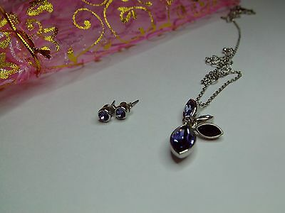 Brand New Purple Matching M&S Necklace and Ear Rings with Gift Bag