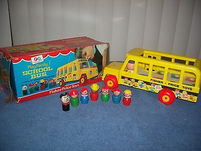 Vintage 1968 Fisher Price # 192 Play Family  School Bus w/ Box