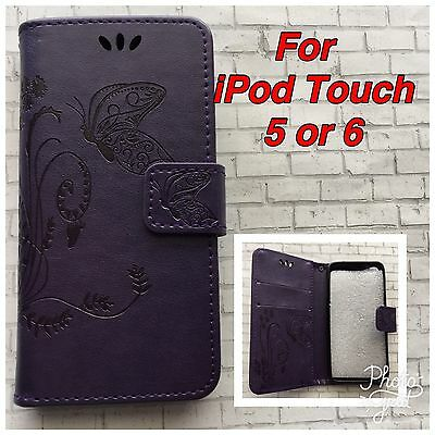 Purple Pattern Leather Wallet Case For Apple iPod Touch 5 5th Or 6th Generation