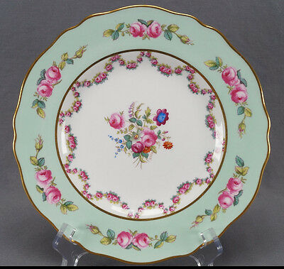 Set of 12 Spode Davis & Collamore Hand Painted Pink Rose Garland Plates C. 1913