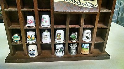 Vintage Thimble Lot w/Wood Display Case, Thimbleville Wood House, 12 Thimbles
