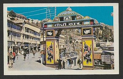 (111cents) India Mussoorie Library Road & Gandhi Dwar Vintage Color PC