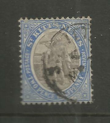 ST KITTS-NEVIS 1903 2½d GREY BLACK AND BLUE USED SG 4    REF 1131