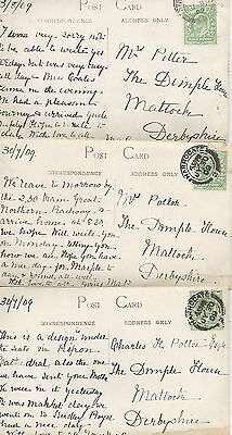 THREE KING EDWARD VII ½d GREEN POSTCARDS FROM HARROGATE 1909 REF 1319