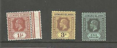 LEEWARD ISLANDS KING GEORGE V 1½d 3d AND ONE SHILLING MM REF 1505