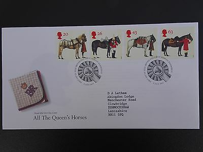 """Gb Fdc 1997 """" All The Queens Horses"""" Royal Mail First Day Cover Bureau Shs"""