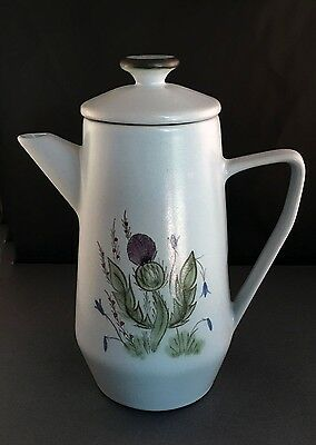 """Buchan Scotland 10"""" Coffee Pot, Thistle Ware, Pottery, Hand Painted, Vintage"""