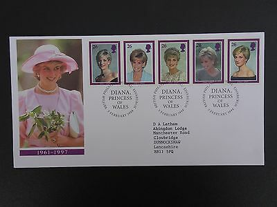 "3 February 1998 Fdc"" Princess Diana"" Royal Mail First Day Cover Bureau Shs"