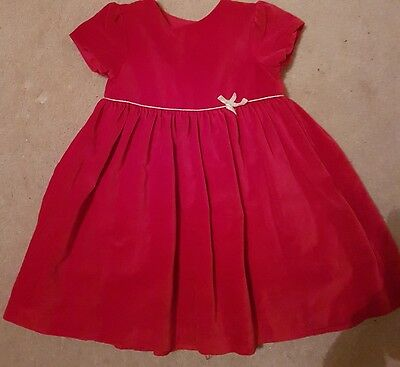 John Lewis Baby Girls Red Dress Age 12-18 Months Excellent Condition